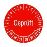Etikett gepr?ft - rot/weiss