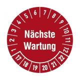 Etikett n?chste Wartung - weinrot/weiss