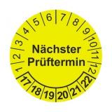 Etikett nä.Prüftermin - gelb/schwarz